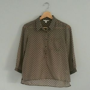 American Eagle 3/4 Length Sheer Blouse Size XS